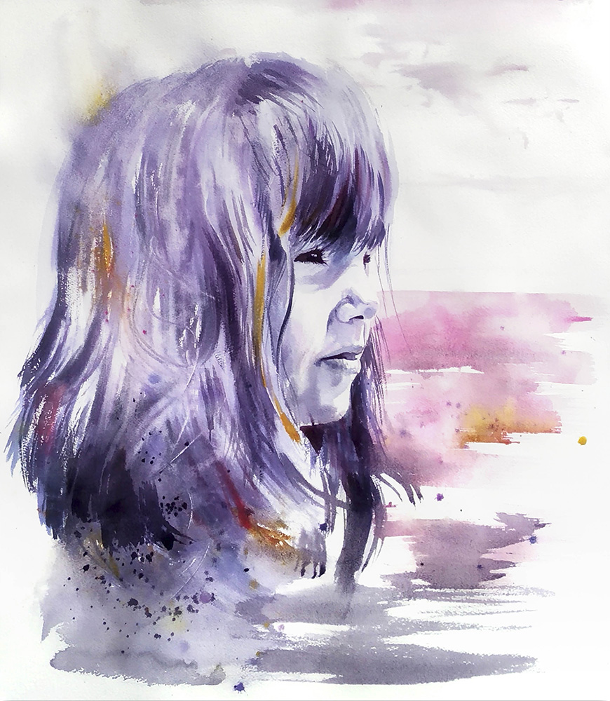 acuarela niña violeta