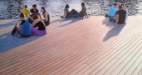 Gente descansando puerto Barcelona