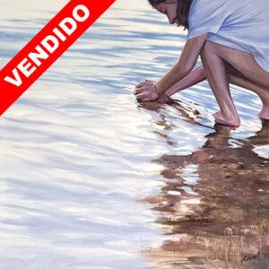 Oleo sobre lienzo niña agua